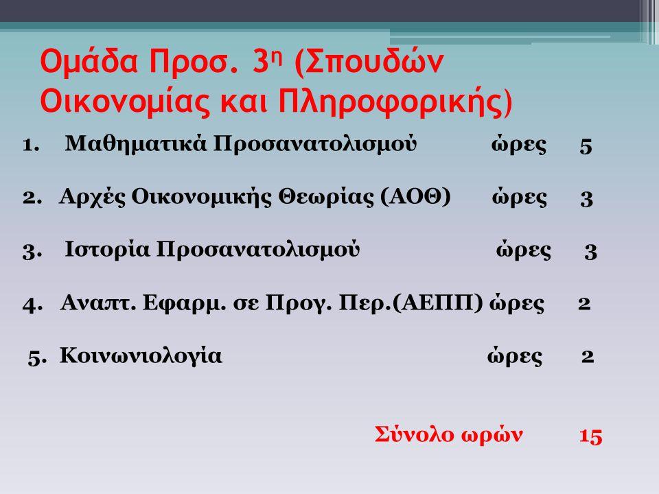 Ομάδα Προσ. 3 η (Σπουδών Οικονομίας και Πληροφορικής) 1. Μαθηματικά Προσανατολισμού ώρες 5 2.Αρχές Οικονομικής Θεωρίας (ΑΟΘ) ώρες 3 3. Ιστορία Προσανα