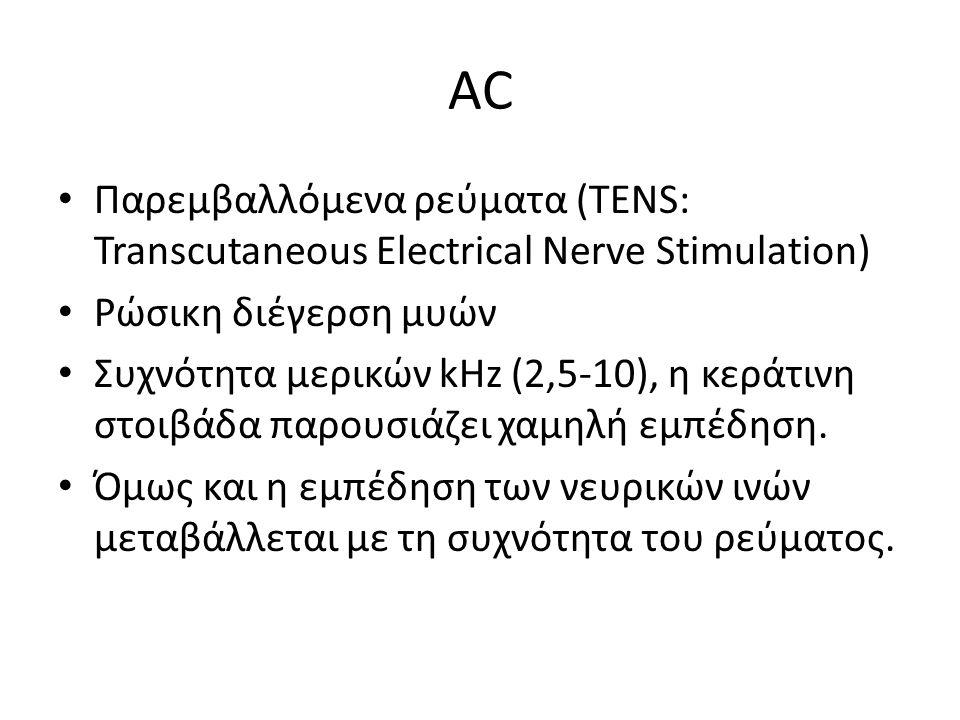 AC Παρεμβαλλόμενα ρεύματα (TENS: Transcutaneous Electrical Nerve Stimulation) Ρώσικη διέγερση μυών Συχνότητα μερικών kHz (2,5-10), η κεράτινη στοιβάδα παρουσιάζει χαμηλή εμπέδηση.