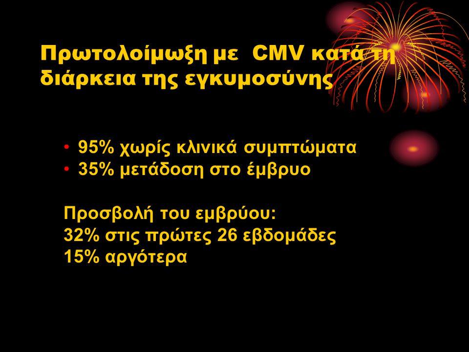 Πρωτολοίμωξη με CMV κατά τη διάρκεια της εγκυμοσύνης 95% χωρίς κλινικά συμπτώματα 35% μετάδοση στο έμβρυο Προσβολή του εμβρύου: 32% στις πρώτες 26 εβδ