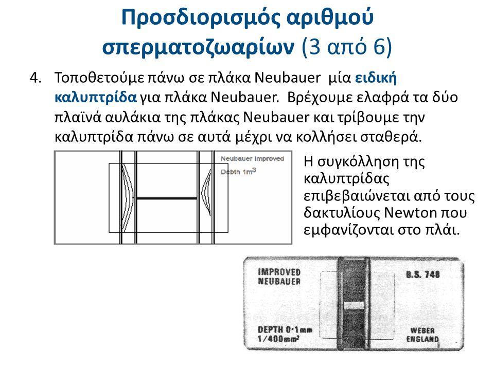 6.Στη συνέχεια το δείγμα τοποθετείται σε υγρό θάλαμο για 15 λεπτά (τρυβλίο με βρεγμένο χαρτί) προκειμένου τα σπερματοζωάρια να καθιζήσουν στον πυθμένα της πλάκας Neubauer.
