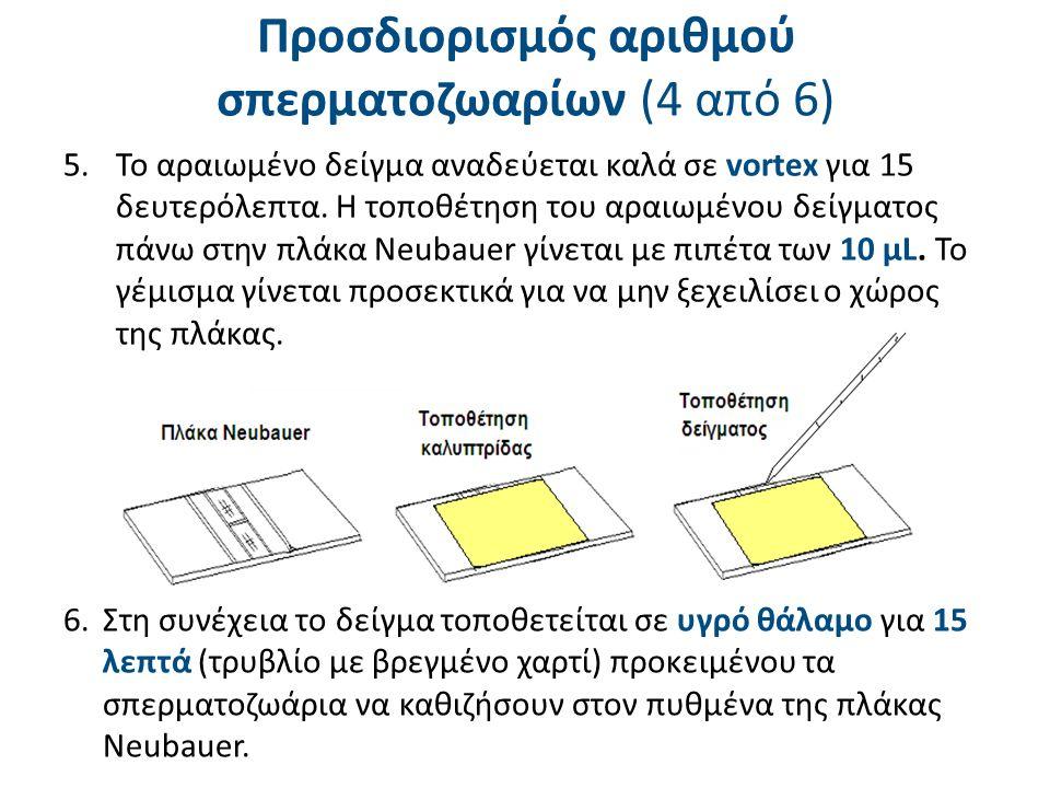 6.Στη συνέχεια το δείγμα τοποθετείται σε υγρό θάλαμο για 15 λεπτά (τρυβλίο με βρεγμένο χαρτί) προκειμένου τα σπερματοζωάρια να καθιζήσουν στον πυθμένα