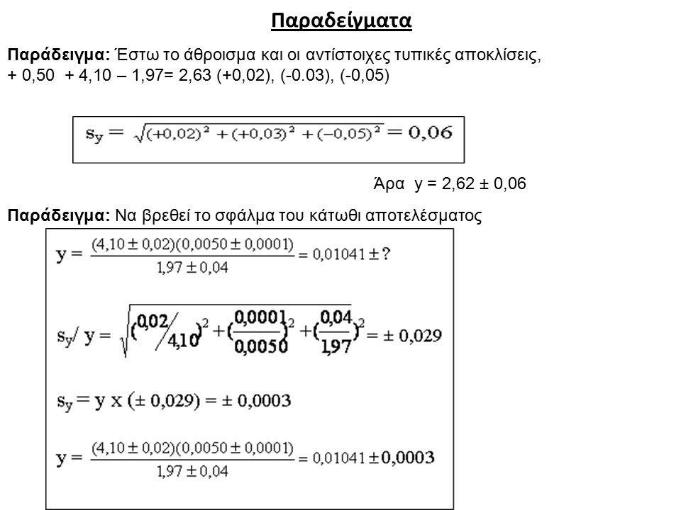 Παραδείγματα Παράδειγμα: Έστω το άθροισμα και οι αντίστοιχες τυπικές αποκλίσεις, + 0,50 + 4,10 – 1,97= 2,63 (+0,02), (-0.03), (-0,05) Άρα y = 2,62 ± 0