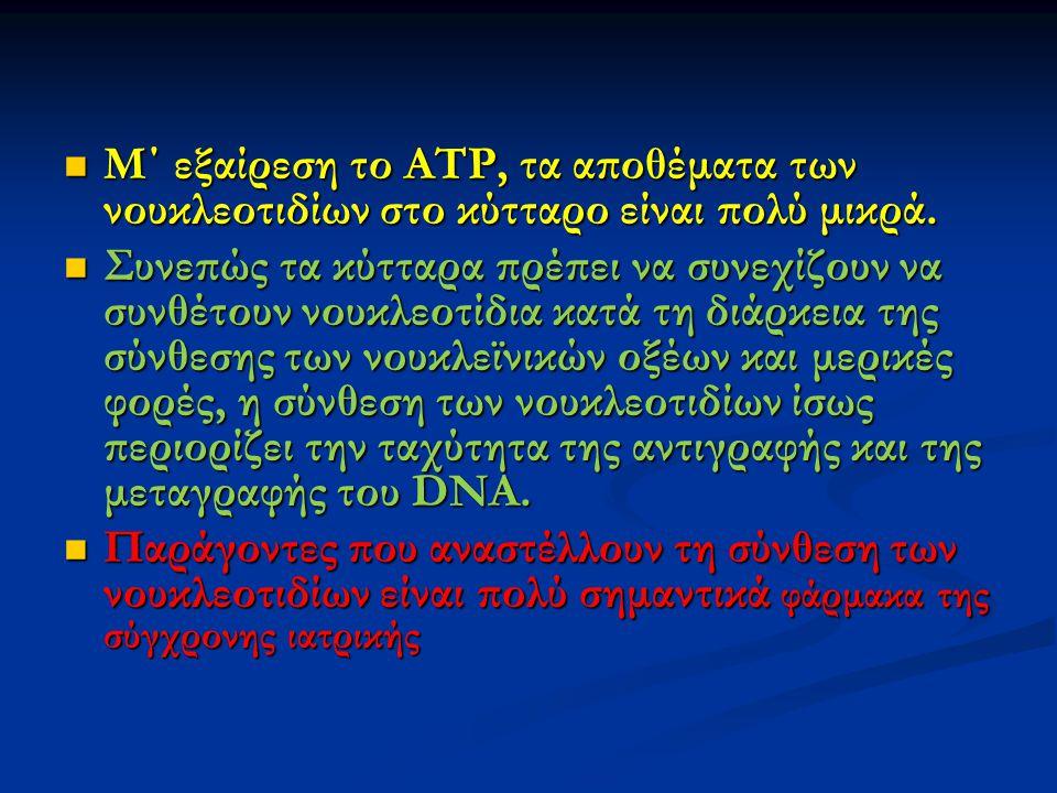 Μ΄ εξαίρεση το ΑΤΡ, τα αποθέματα των νουκλεοτιδίων στο κύτταρο είναι πολύ μικρά. Μ΄ εξαίρεση το ΑΤΡ, τα αποθέματα των νουκλεοτιδίων στο κύτταρο είναι