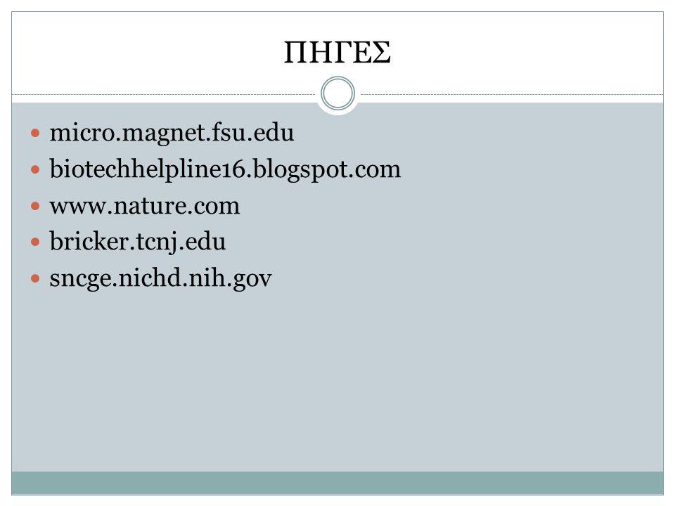 ΠΗΓΕΣ micro.magnet.fsu.edu biotechhelpline16.blogspot.com www.nature.com bricker.tcnj.edu sncge.nichd.nih.gov