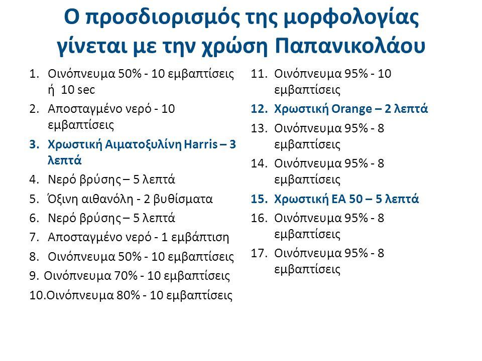 Ο προσδιορισμός της μορφολογίας γίνεται με την χρώση Παπανικολάου 1.Οινόπνευμα 50% - 10 εμβαπτίσεις ή 10 sec 2.Αποσταγμένο νερό - 10 εμβαπτίσεις 3.Χρωστική Αιματοξυλίνη Harris – 3 λεπτά 4.Νερό βρύσης – 5 λεπτά 5.Όξινη αιθανόλη - 2 βυθίσματα 6.Νερό βρύσης – 5 λεπτά 7.Αποσταγμένο νερό - 1 εμβάπτιση 8.Οινόπνευμα 50% - 10 εμβαπτίσεις 9.Οινόπνευμα 70% - 10 εμβαπτίσεις 10.Οινόπνευμα 80% - 10 εμβαπτίσεις 11.Οινόπνευμα 95% - 10 εμβαπτίσεις 12.Χρωστική Orange – 2 λεπτά 13.Οινόπνευμα 95% - 8 εμβαπτίσεις 14.Οινόπνευμα 95% - 8 εμβαπτίσεις 15.Χρωστική ΕΑ 50 – 5 λεπτά 16.Οινόπνευμα 95% - 8 εμβαπτίσεις 17.Οινόπνευμα 95% - 8 εμβαπτίσεις