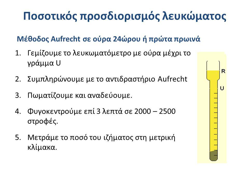 Ποσοτικός προσδιορισμός λευκώματος Μέθοδος Aufrecht σε ούρα 24ώρου ή πρώτα πρωινά 1.Γεμίζουμε το λευκωματόμετρο με ούρα μέχρι το γράμμα U 2.Συμπληρώνουμε με το αντιδραστήριο Aufrecht 3.Πωματίζουμε και αναδεύουμε.