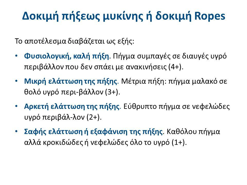 Δοκιμή πήξεως μυκίνης ή δοκιμή Ropes Το αποτέλεσμα διαβάζεται ως εξής: Φυσιολογική, καλή πήξη. Πήγμα συμπαγές σε διαυγές υγρό περιβάλλον που δεν σπάει