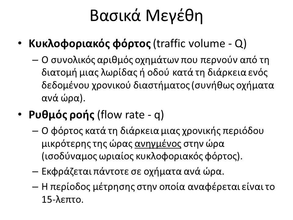 Βασικά Μεγέθη Κυκλοφοριακός φόρτος (traffic volume - Q) – Ο συνολικός αριθμός οχημάτων που περνούν από τη διατομή μιας λωρίδας ή οδού κατά τη διάρκεια