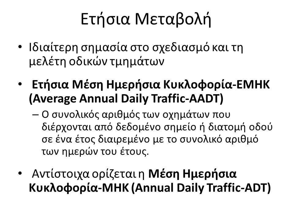Ετήσια Μεταβολή Ιδιαίτερη σημασία στο σχεδιασμό και τη μελέτη οδικών τμημάτων Ετήσια Μέση Ημερήσια Κυκλοφορία-ΕΜΗΚ (Average Annual Daily Traffic-AADT)