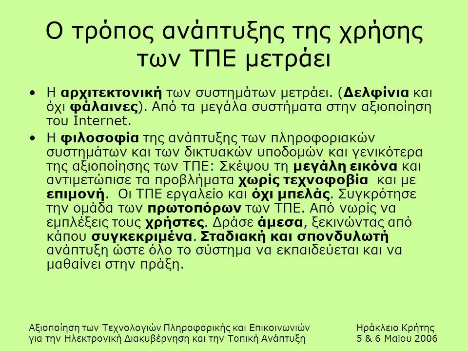 Αξιοποίηση των Τεχνολογιών Πληροφορικής και ΕπικοινωνιώνΗράκλειο Κρήτης για την Ηλεκτρονική Διακυβέρνηση και την Τοπική Ανάπτυξη5 & 6 Μαϊου 2006 Ο τρόπος ανάπτυξης της χρήσης των ΤΠΕ μετράει Η αρχιτεκτονική των συστημάτων μετράει.