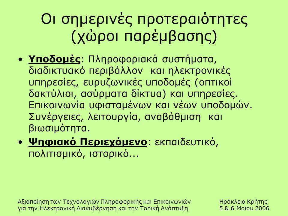 Αξιοποίηση των Τεχνολογιών Πληροφορικής και ΕπικοινωνιώνΗράκλειο Κρήτης για την Ηλεκτρονική Διακυβέρνηση και την Τοπική Ανάπτυξη5 & 6 Μαϊου 2006 Οι σημερινές προτεραιότητες (χώροι παρέμβασης) Υποδομές: Πληροφοριακά συστήματα, διαδικτυακό περιβάλλον και ηλεκτρονικές υπηρεσίες, ευρυζωνικές υποδομές (οπτικοί δακτύλιοι, ασύρματα δίκτυα) και υπηρεσίες.