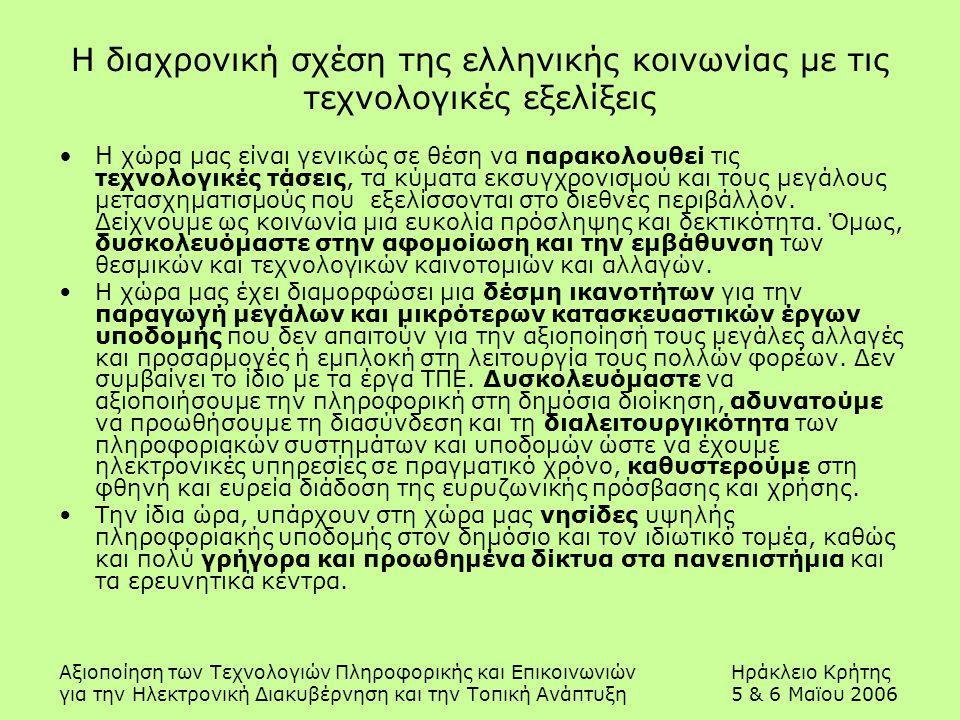Αξιοποίηση των Τεχνολογιών Πληροφορικής και ΕπικοινωνιώνΗράκλειο Κρήτης για την Ηλεκτρονική Διακυβέρνηση και την Τοπική Ανάπτυξη5 & 6 Μαϊου 2006 Η διαχρονική σχέση της ελληνικής κοινωνίας με τις τεχνολογικές εξελίξεις Η χώρα μας είναι γενικώς σε θέση να παρακολουθεί τις τεχνολογικές τάσεις, τα κύματα εκσυγχρονισμού και τους μεγάλους μετασχηματισμούς που εξελίσσονται στο διεθνές περιβάλλον.