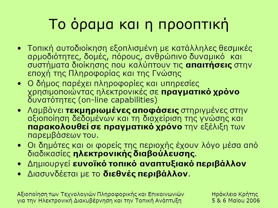 Αξιοποίηση των Τεχνολογιών Πληροφορικής και ΕπικοινωνιώνΗράκλειο Κρήτης για την Ηλεκτρονική Διακυβέρνηση και την Τοπική Ανάπτυξη5 & 6 Μαϊου 2006 Το όραμα και η προοπτική Τοπική αυτοδιοίκηση εξοπλισμένη με κατάλληλες θεσμικές αρμοδιότητες, δομές, πόρους, ανθρώπινο δυναμικό και συστήματα διοίκησης που καλύπτουν τις απαιτήσεις στην εποχή της Πληροφορίας και της Γνώσης Ο δήμος παρέχει πληροφορίες και υπηρεσίες χρησιμοποιώντας ηλεκτρονικές σε πραγματικό χρόνο δυνατότητες (on-line capabilities) Λαμβάνει τεκμηριωμένες αποφάσεις στηριγμένες στην αξιοποίηση δεδομένων και τη διαχείριση της γνώσης και παρακολουθεί σε πραγματικό χρόνο την εξέλιξη των παρεμβάσεων του.