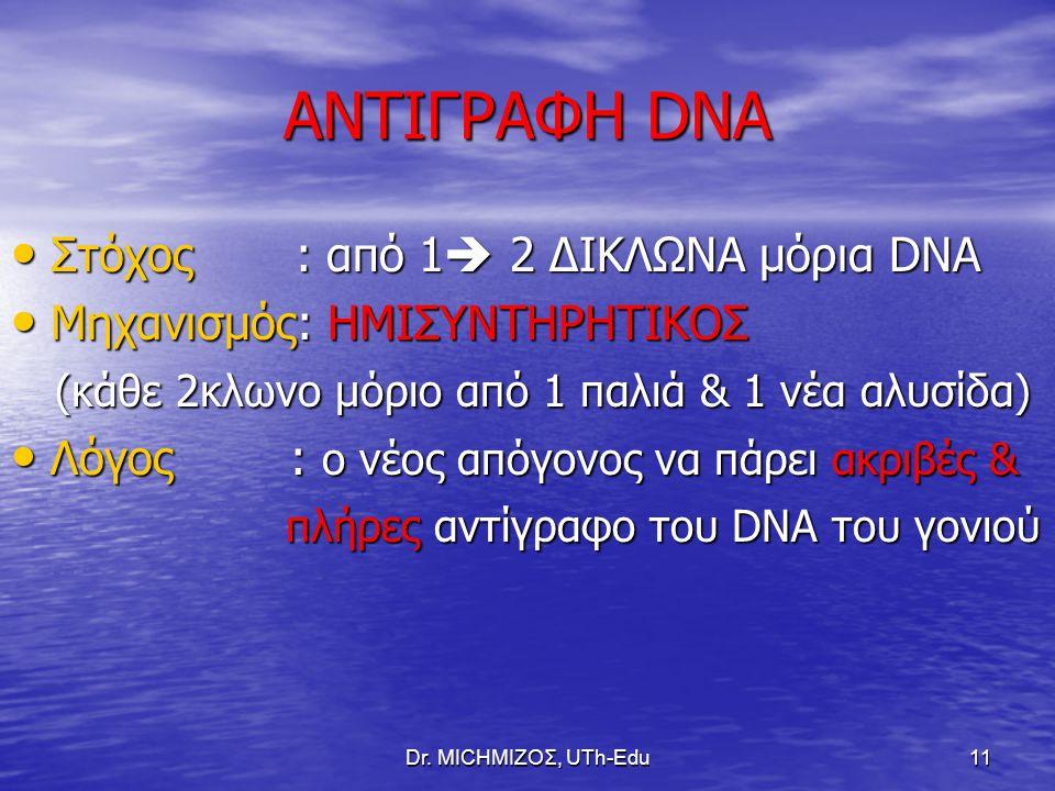 Dr. ΜΙCHΜΙΖΟΣ, UTh-Edu11 ΑΝΤΙΓΡΑΦΗ DNA Στόχος : από 1  2 ΔΙΚΛΩΝΑ μόρια DNA Στόχος : από 1  2 ΔΙΚΛΩΝΑ μόρια DNA Μηχανισμός: ΗΜΙΣΥΝΤΗΡΗΤΙΚΟΣ Μηχανισμό