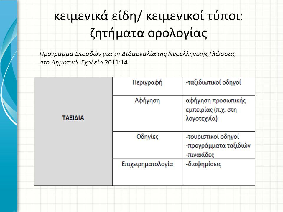 κειμενικά είδη/ κειμενικοί τύποι: ζητήματα ορολογίας Πρόγραμμα Σπουδών για τη Διδασκαλία της Νεοελληνικής Γλώσσας στο Δημοτικό Σχολείο 2011:14