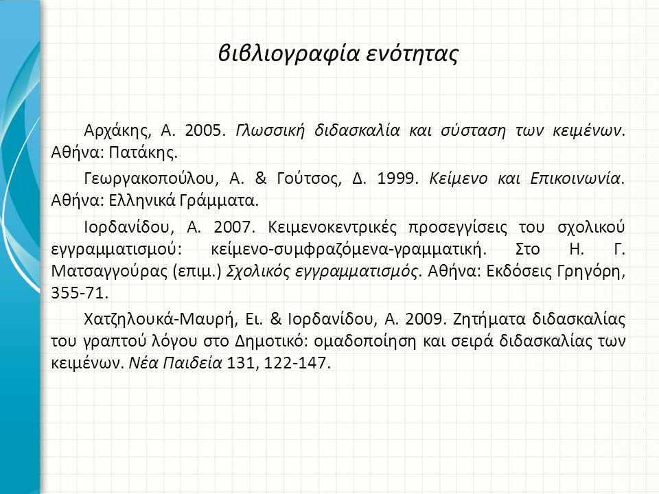 βιβλιογραφία ενότητας Αρχάκης, Α.2005. Γλωσσική διδασκαλία και σύσταση των κειμένων.