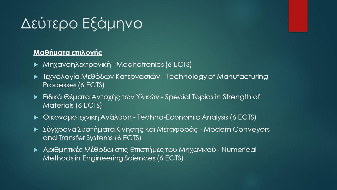 Δεύτερο Εξάμηνο Μαθήματα επιλογής  Μηχανοηλεκτρονική - Mechatronics (6 ECTS)  Τεχνολογία Μεθόδων Κατεργασιών - Technology of Manufacturing Processes