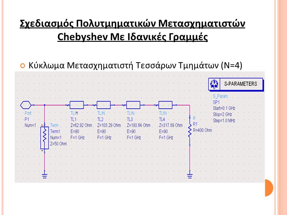 Σχεδιασμός Πολυτμηματικών Μετασχηματιστών Chebyshev Με Ιδανικές Γραμμές Κύκλωμα Μετασχηματιστή Τεσσάρων Τμημάτων (Ν=4)