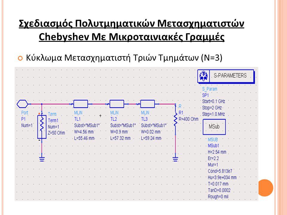 Σχεδιασμός Πολυτμηματικών Μετασχηματιστών Chebyshev Με Μικροταινιακές Γραμμές Κύκλωμα Μετασχηματιστή Τριών Τμημάτων (Ν=3)