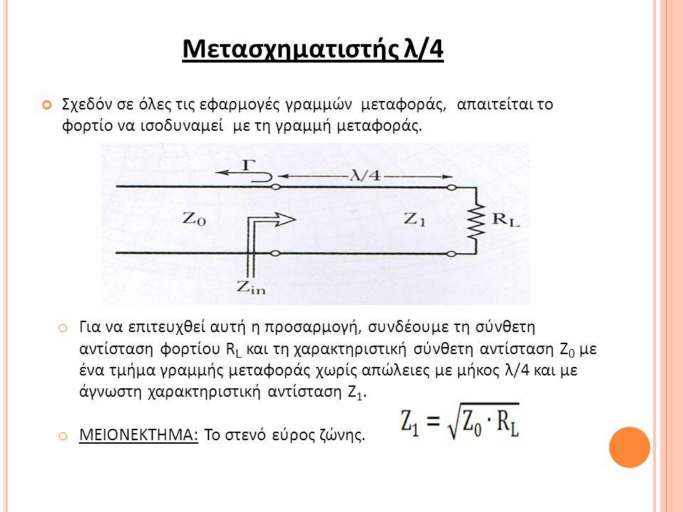 Μετασχηματιστής λ/4 Σχεδόν σε όλες τις εφαρμογές γραμμών μεταφοράς, απαιτείται το φορτίο να ισοδυναμεί µε τη γραμμή μεταφοράς.