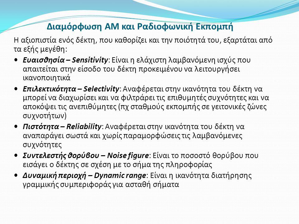 Διαμόρφωση AM και Ραδιοφωνική Εκπομπή Η αξιοπιστία ενός δέκτη, που καθορίζει και την ποιότητά του, εξαρτάται από τα εξής μεγέθη: Ευαισθησία – Sensitiv