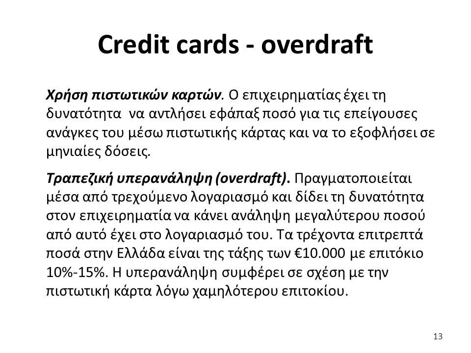 Credit cards - overdraft Χρήση πιστωτικών καρτών.