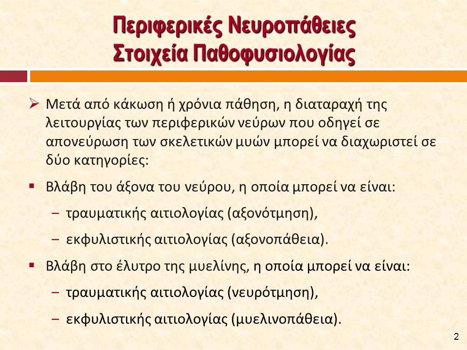 Περιφερικές Νευροπάθειες Στοιχεία Παθοφυσιολογίας  Μετά από κάκωση ή χρόνια πάθηση, η διαταραχή της λειτουργίας των περιφερικών νεύρων που οδηγεί σε απονεύρωση των σκελετικών μυών μπορεί να διαχωριστεί σε δύο κατηγορίες:  Βλάβη του άξονα του νεύρου, η οποία μπορεί να είναι: ‒τραυματικής αιτιολογίας (αξονότμηση), ‒εκφυλιστικής αιτιολογίας (αξονοπάθεια).