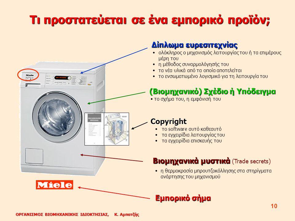 ΟΡΓΑΝΙΣΜΟΣ ΒΙΟΜΗΧΑΝΙΚΗΣ ΙΔΙΟΚΤΗΣΙΑΣ, Κ. Αμπατζής 10 Τι προστατεύεται σε ένα εμπορικό προϊόν; Δίπλωμα ευρεσιτεχνίας (Βιομηχανικό) Σχέδιο ή Υπόδειγμα Co