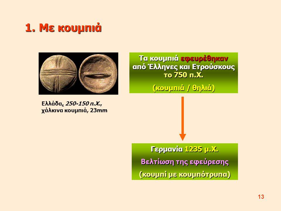 13 1.Με κουμπιά Τα κουμπιά εφευρέθηκαν από Έλληνες και Ετρούσκους το 750 π.Χ. (κουμπιά / θηλιά) Γερμανία 1235 μ.Χ. Βελτίωση της εφεύρεσης (κουμπί με κ