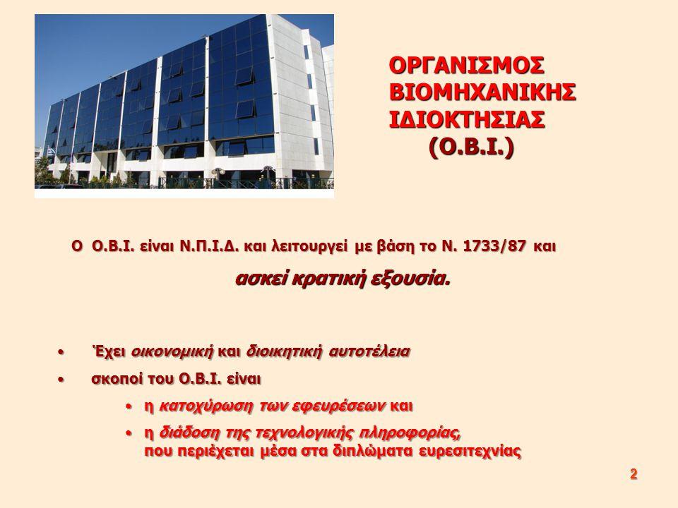 2 Ο Ο.Β.Ι. είναι Ν.Π.Ι.Δ. και λειτουργεί με βάση το Ν. 1733/87 και Ο Ο.Β.Ι. είναι Ν.Π.Ι.Δ. και λειτουργεί με βάση το Ν. 1733/87 και ασκεί κρατική εξου