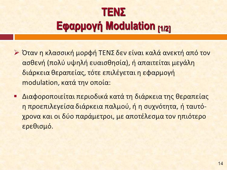 ΤΕΝΣ Εφαρμογή Modulation [1/2]  Όταν η κλασσική μορφή ΤΕΝΣ δεν είναι καλά ανεκτή από τον ασθενή (πολύ υψηλή ευαισθησία), ή απαιτείται μεγάλη διάρκεια