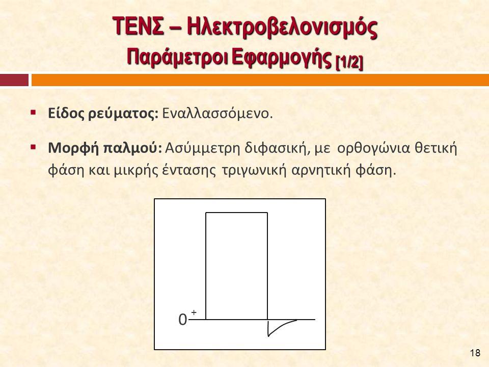 ΤΕΝΣ – Ηλεκτροβελονισμός Παράμετροι Εφαρμογής [1/2]  Είδος ρεύματος: Εναλλασσόμενο.  Μορφή παλμού: Ασύμμετρη διφασική, με ορθογώνια θετική φάση και