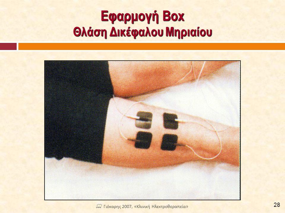 Εφαρμογή Box Θλάση Δικέφαλου Μηριαίου 28  Γιόκαρης 2007, «Κλινική Ηλεκτροθεραπεία»