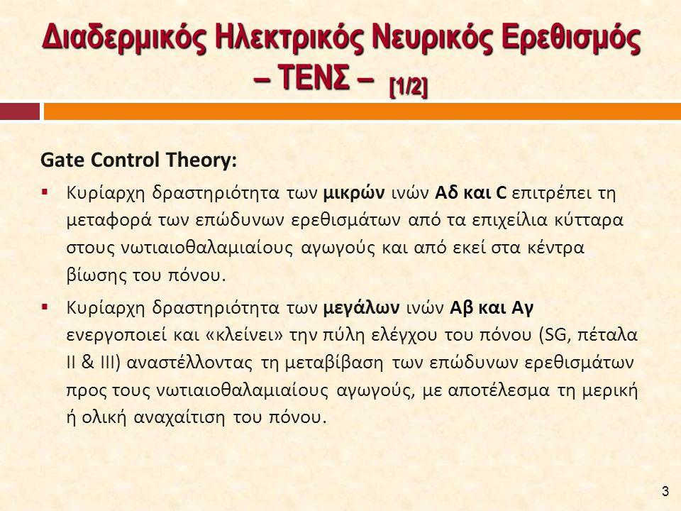 Διαδερμικός Ηλεκτρικός Νευρικός Ερεθισμός – ΤΕΝΣ – [1/2] Gate Control Theory:  Κυρίαρχη δραστηριότητα των μικρών ινών Αδ και C επιτρέπει τη μεταφορά