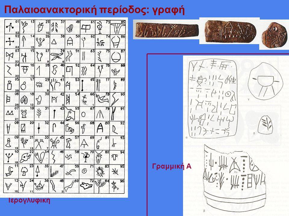 Παλαιοανακτορική περίοδος: γραφή Ιερογλυφική ειδώλια Γραμμική Α