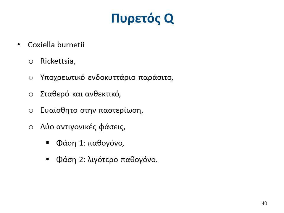 Πυρετός Q Coxiella burnetii o Rickettsia, o Υποχρεωτικό ενδοκυττάριο παράσιτο, o Σταθερό και ανθεκτικό, o Ευαίσθητο στην παστερίωση, o Δύο αντιγονικές φάσεις,  Φάση 1: παθογόνο,  Φάση 2: λιγότερο παθογόνο.