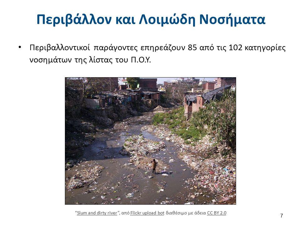 """Περιβάλλον και Λοιμώδη Νοσήματα Περιβαλλοντικοί παράγοντες επηρεάζουν 85 από τις 102 κατηγορίες νοσημάτων της λίστας του Π.Ο.Υ. 7 """"Slum and dirty rive"""