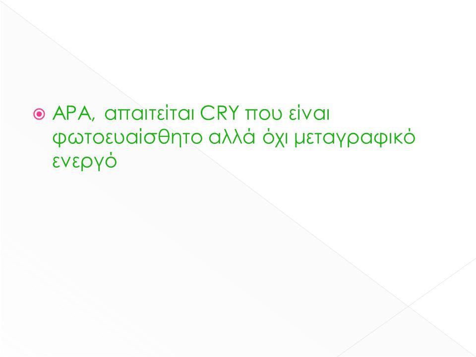  ΑΡΑ, απαιτείται CRY που είναι φωτοευαίσθητο αλλά όχι μεταγραφικό ενεργό