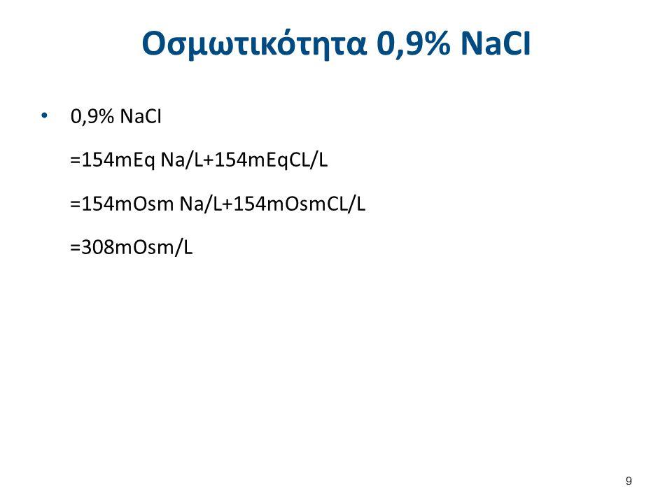 Oσμωτικότητα 0,9% NaCI 0,9% NaCI =154mEq Na/L+154mEqCL/L =154mOsm Na/L+154mOsmCL/L =308mOsm/L 9
