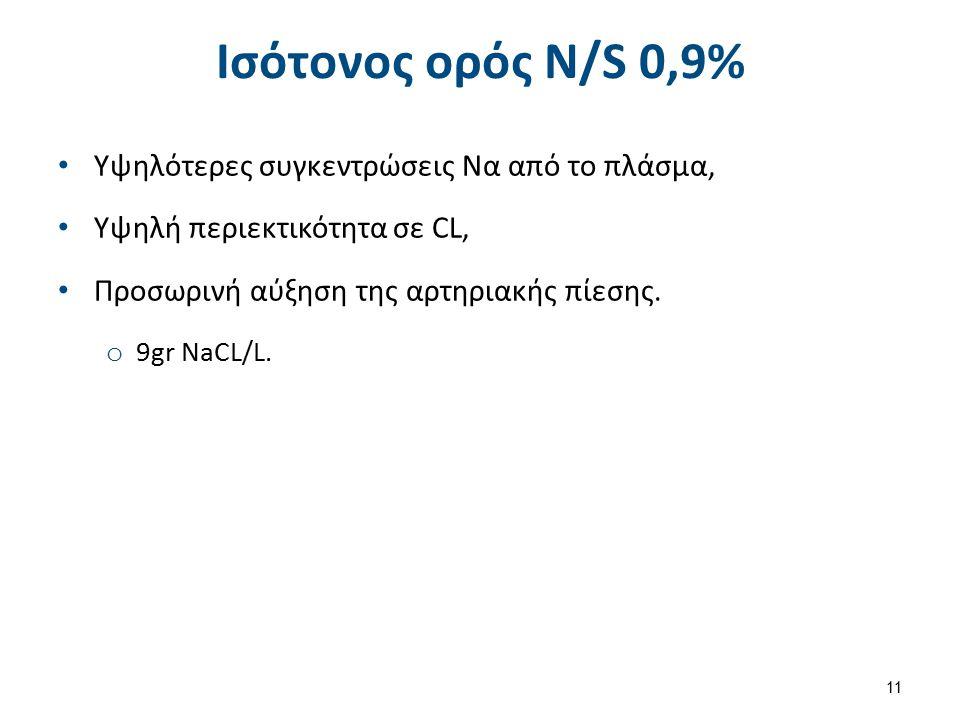 Ισότονος ορός Ν/S 0,9% Υψηλότερες συγκεντρώσεις Να από το πλάσμα, Υψηλή περιεκτικότητα σε CL, Προσωρινή αύξηση της αρτηριακής πίεσης. o 9gr NaCL/L. 11