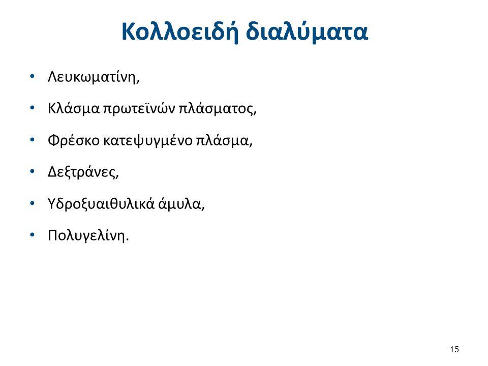 Κολλοειδή διαλύματα Λευκωματίνη, Κλάσμα πρωτεϊνών πλάσματος, Φρέσκο κατεψυγμένο πλάσμα, Δεξτράνες, Υδροξυαιθυλικά άμυλα, Πολυγελίνη. 15