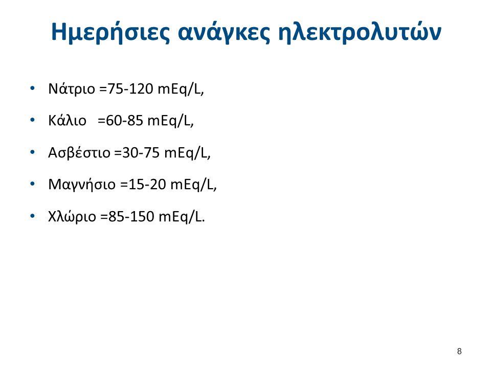 Ημερήσιες ανάγκες ηλεκτρολυτών Νάτριο =75-120 mEq/L, Κάλιο =60-85 mEq/L, Ασβέστιο =30-75 mEq/L, Μαγνήσιο =15-20 mEq/L, Χλώριο =85-150 mEq/L. 8