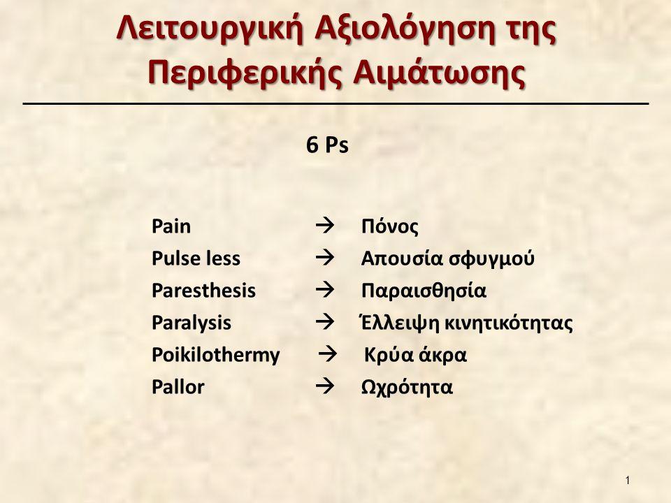 Λειτουργική Αξιολόγηση της Περιφερικής Αιμάτωσης 6 Ps Pain  Πόνος Pulse less  Απουσία σφυγμού Paresthesis  Παραισθησία Paralysis  Έλλειψη κινητικό