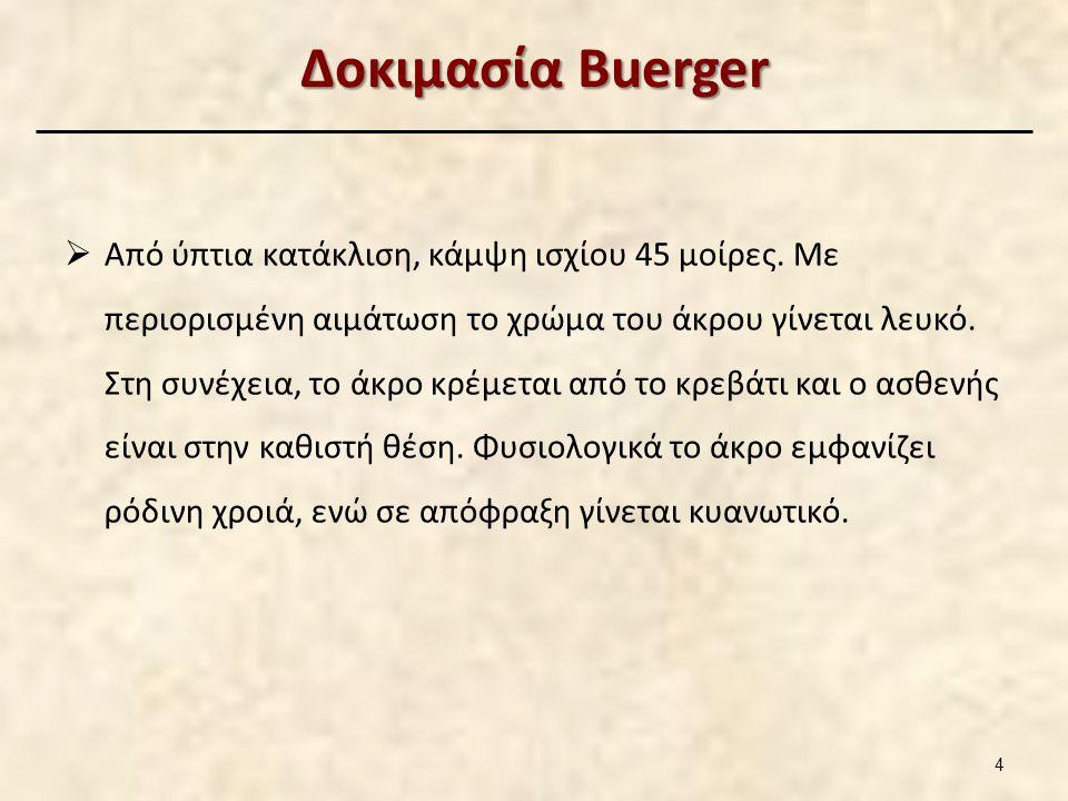 Δοκιμασία Buerger  Από ύπτια κατάκλιση, κάμψη ισχίου 45 μοίρες. Με περιορισμένη αιμάτωση το χρώμα του άκρου γίνεται λευκό. Στη συνέχεια, το άκρο κρέμ