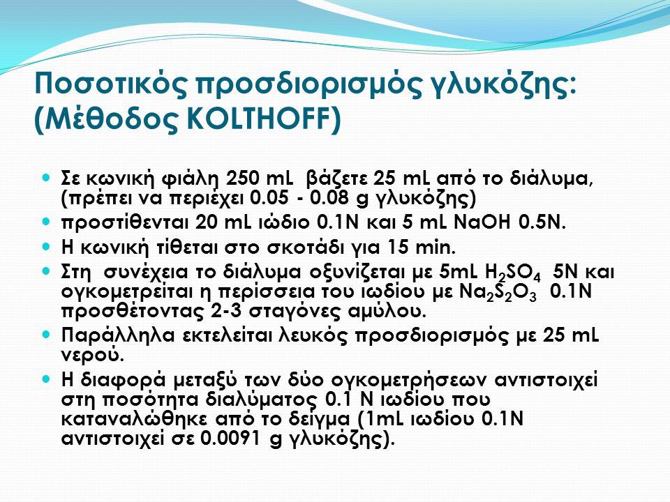 Ποσοτικός προσδιορισμός γλυκόζης: (Μέθοδος KOLΤHOFF) Σε κωνική φιάλη 250 mL βάζετε 25 mL από το διάλυμα, (πρέπει να περιέχει 0.05 - 0.08 g γλυκόζης) π