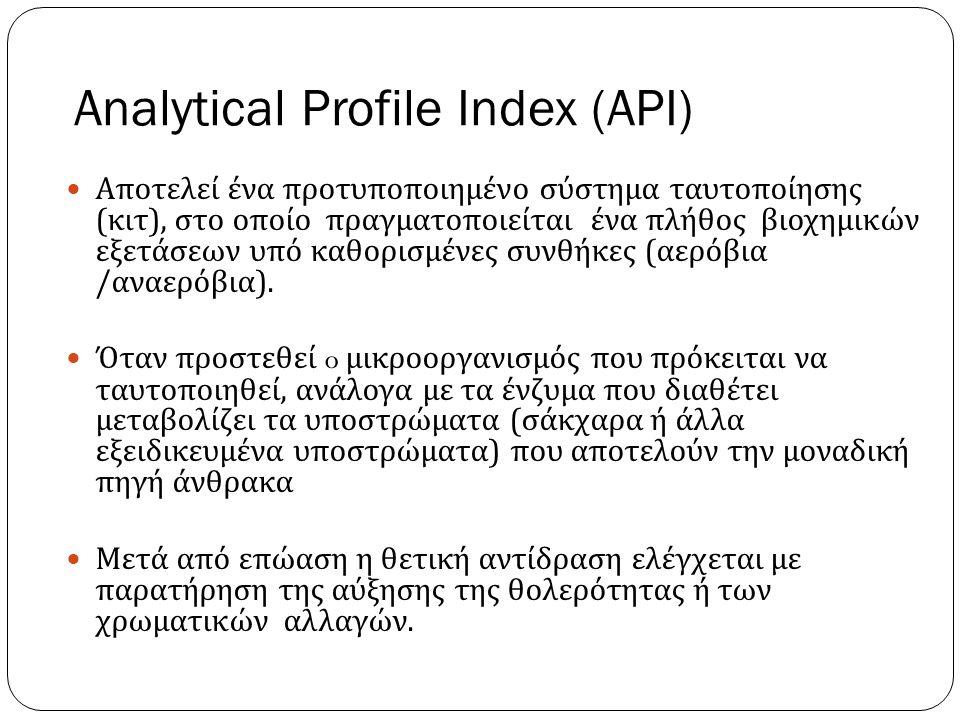 Analytical Profile Index (API) Αποτελεί ένα προτυποποιημένο σύστημα ταυτοποίησης ( κιτ ), στο οποίο πραγματοποιείται ένα πλήθος βιοχημικών εξετάσεων υπό καθορισμένες συνθήκες ( αερόβια / αναερόβια ).