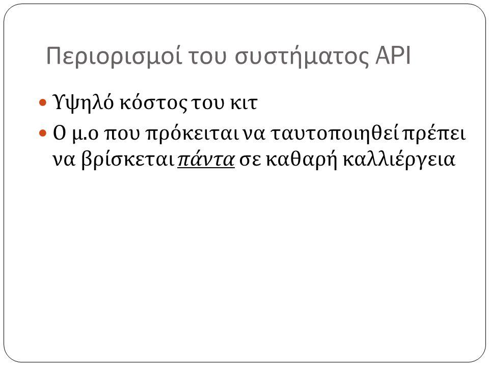 Περιορισμοί του συστήματος API Υψηλό κόστος του κιτ Ο μ.