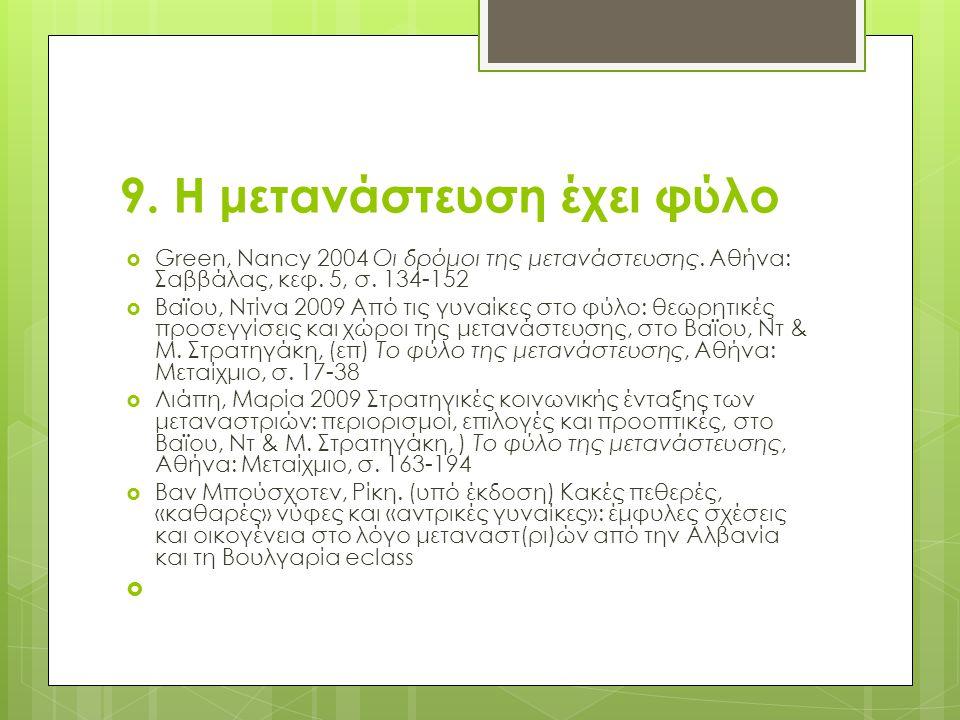 9. Η μετανάστευση έχει φύλο  Green, Nancy 2004 Οι δρόμοι της μετανάστευσης. Αθήνα: Σαββάλας, κεφ. 5, σ. 134-152  Βαϊου, Ντίνα 2009 Από τις γυναίκες
