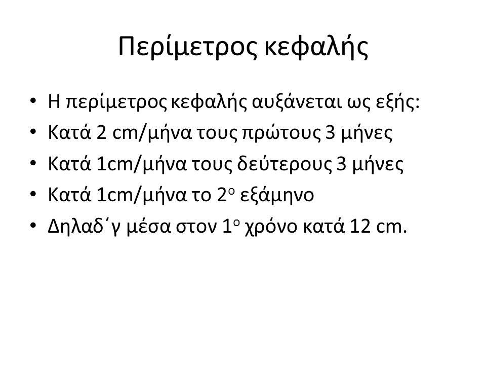 Περίμετρος κεφαλής Η περίμετρος κεφαλής αυξάνεται ως εξής: Κατά 2 cm/μήνα τους πρώτους 3 μήνες Κατά 1cm/μήνα τους δεύτερους 3 μήνες Κατά 1cm/μήνα το 2