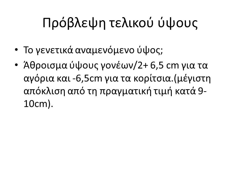 Πρόβλεψη τελικού ύψους Το γενετικά αναμενόμενο ύψος; Άθροισμα ύψους γονέων/2+ 6,5 cm για τα αγόρια και -6,5cm για τα κορίτσια.(μέγιστη απόκλιση από τη